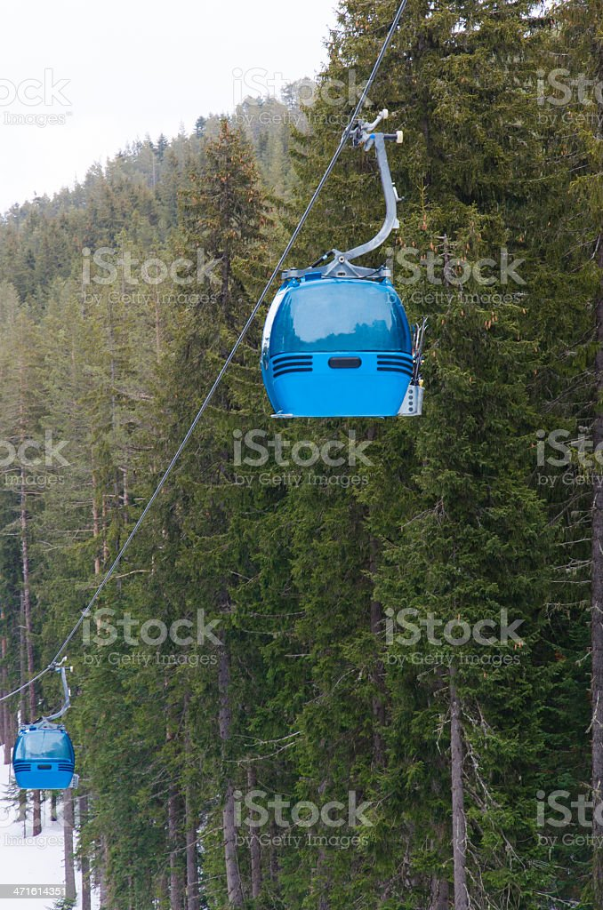 ski lift cabin Bansko, Bulgaria world cup center royalty-free stock photo