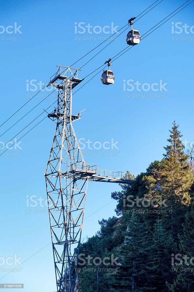 ski lift cabin stock photo