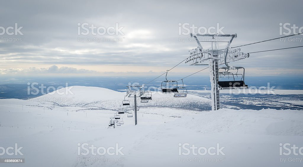 Ski lift cable way in the mountains stock photo