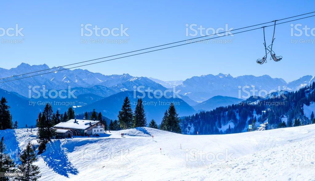 ski lift chairs stock photo