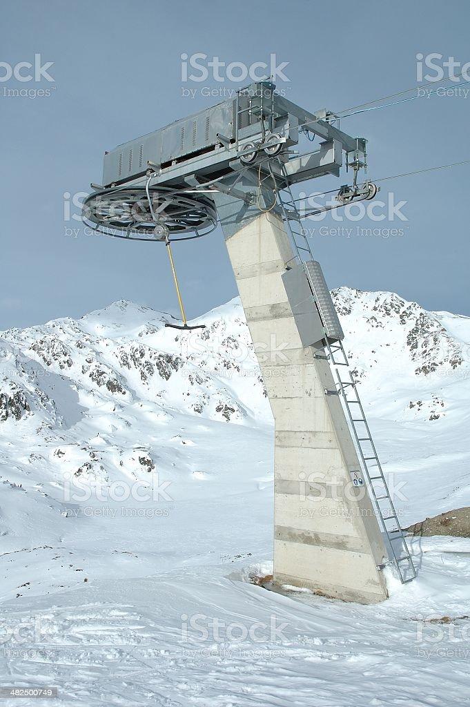 Ski lift end support stock photo