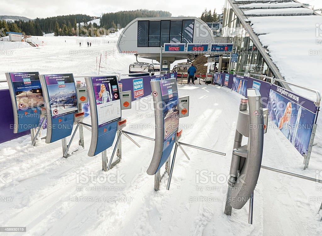 Ski Lift Entrance Turnstiles stock photo
