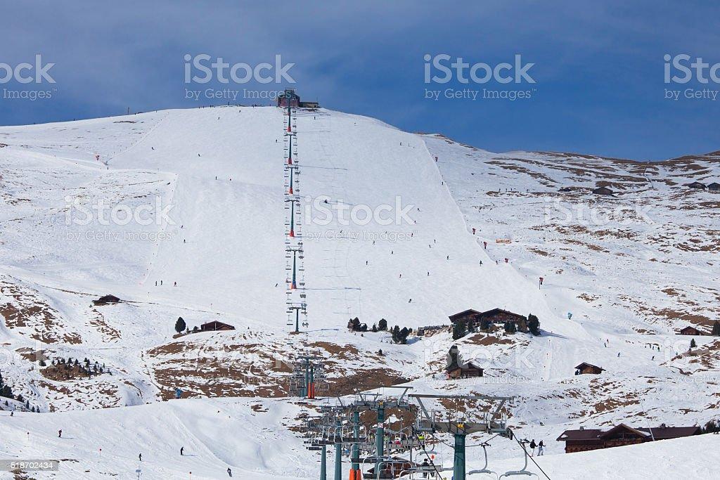 Ski lift in Dolomiti Alps, Italy stock photo