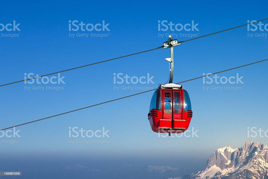 Ski lift in European Alps stock photo