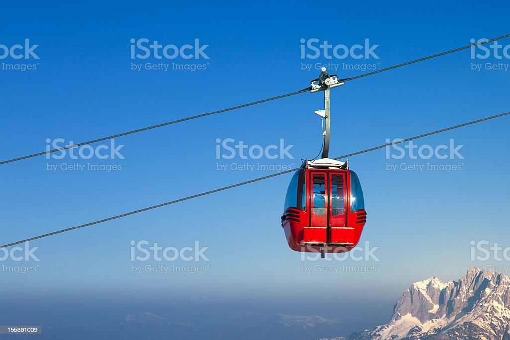 Ski lift in European Alps stock photo