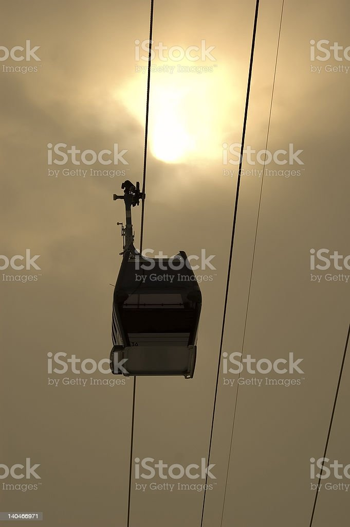 Ski lift in French Alps royalty-free stock photo