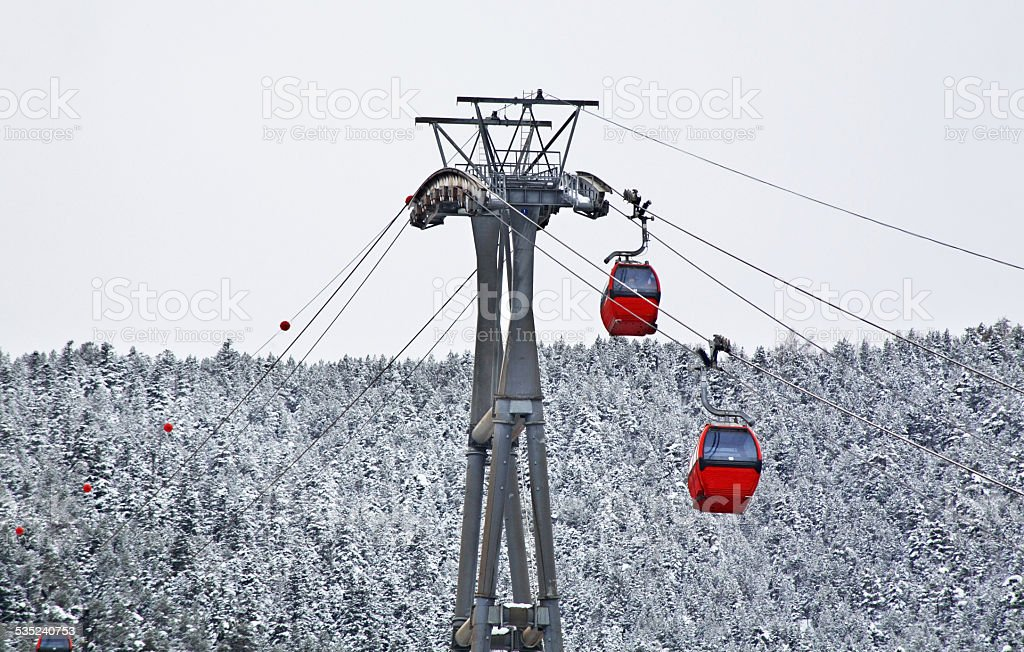 Ski lift in La Massana. Principality of Andorra stock photo