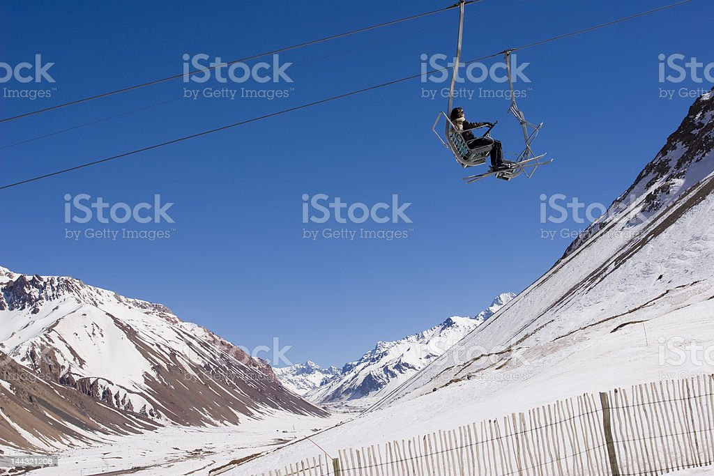 Ski lift in Penitentes resort on a sunny day royalty-free stock photo