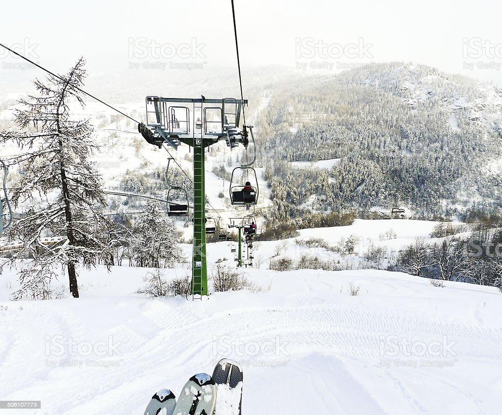 ski lift in skiing area Via Lattea, Italy stock photo