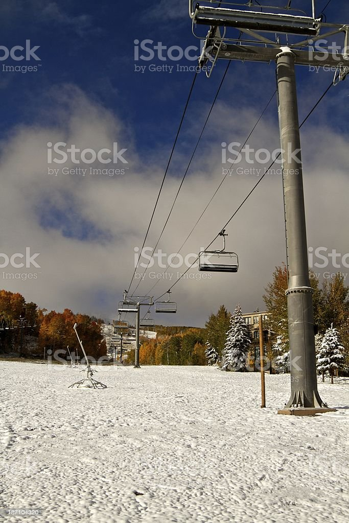 Ski lift in Snowmass Village Colorado royalty-free stock photo