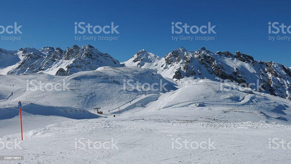 Ski lift in the Pizol ski area stock photo