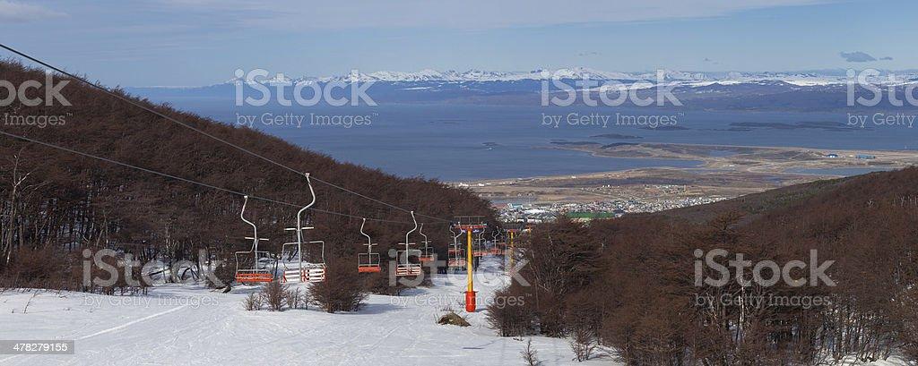 Ski lift in Ushuaia, Tierra del Fuego, Argentina stock photo
