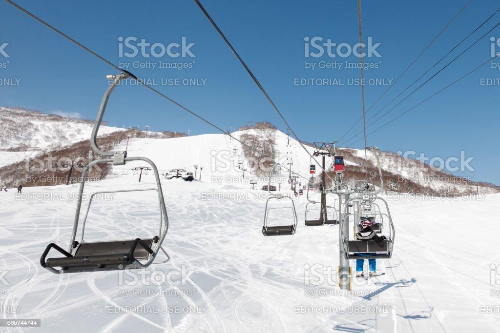 Ski Lift, Niseko Village Ski Resort, Hokkaido, Japan stock photo