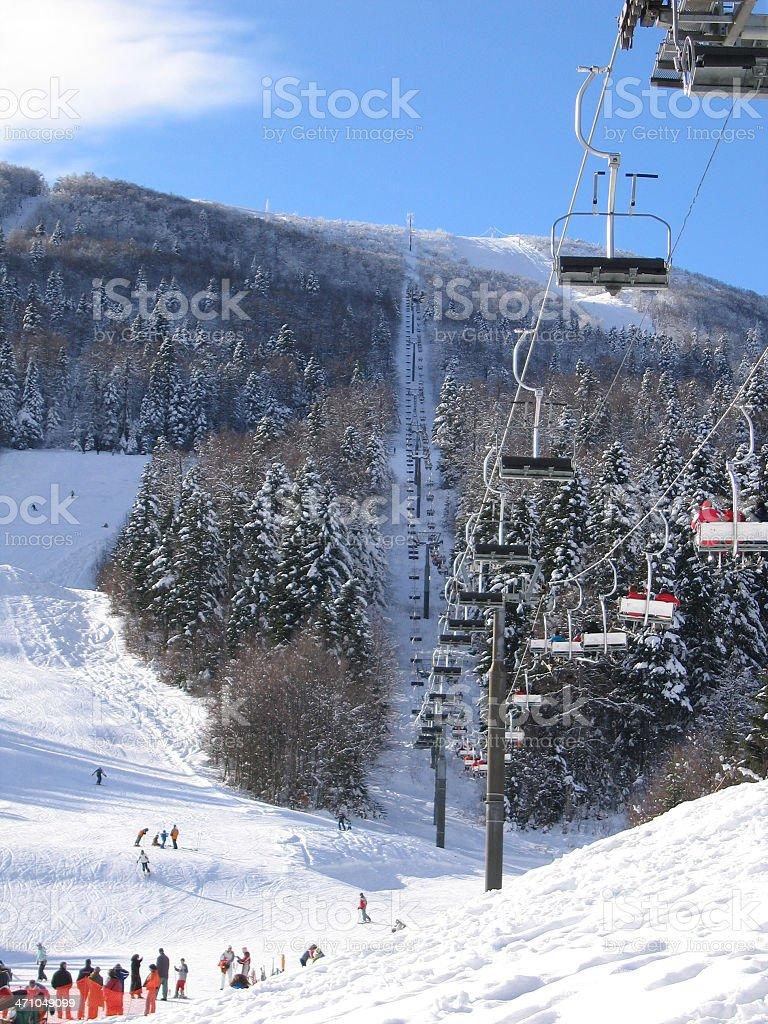 Ski lift on Bjelasnica royalty-free stock photo
