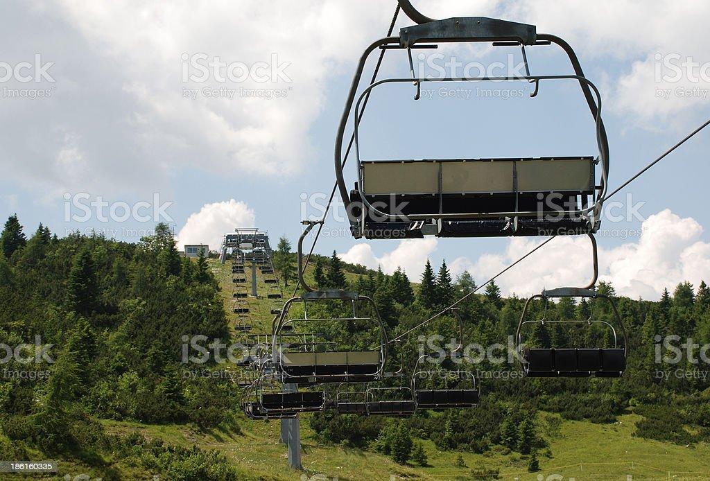 Ski Lift on Monte Zoncolan in Summer royalty-free stock photo