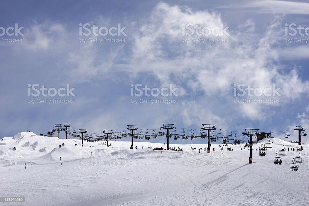 Ski lift on Terrain Park stock photo