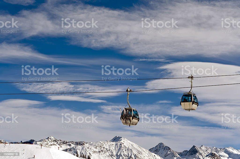 ski lift over the skiing region royalty-free stock photo