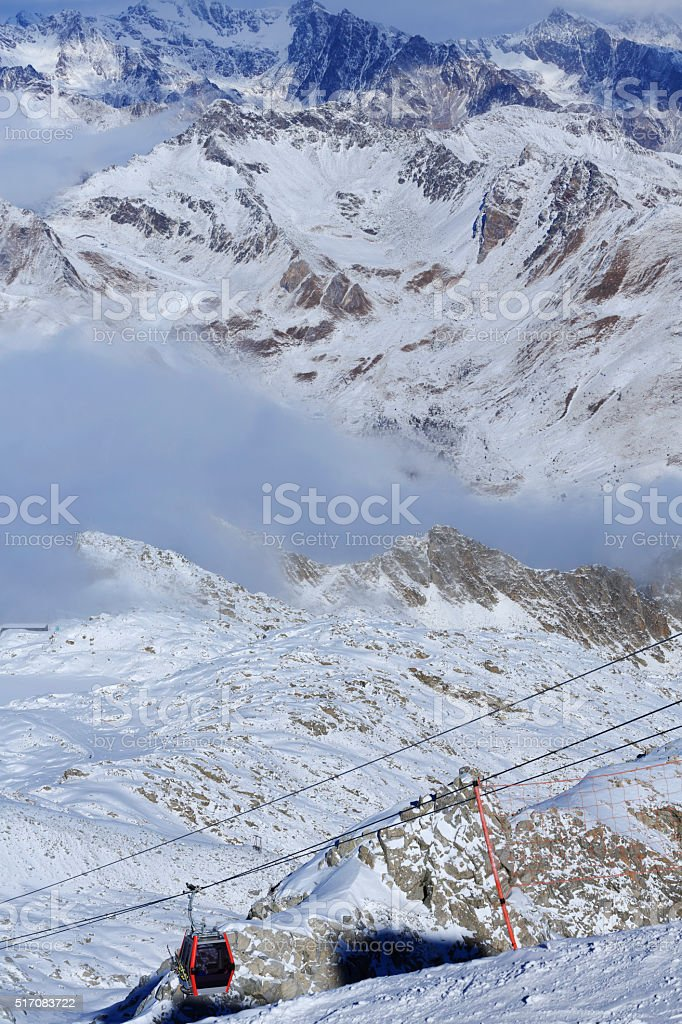 Ski lift   Overhead cable car  ski resort  Italian Alps Mountains stock photo