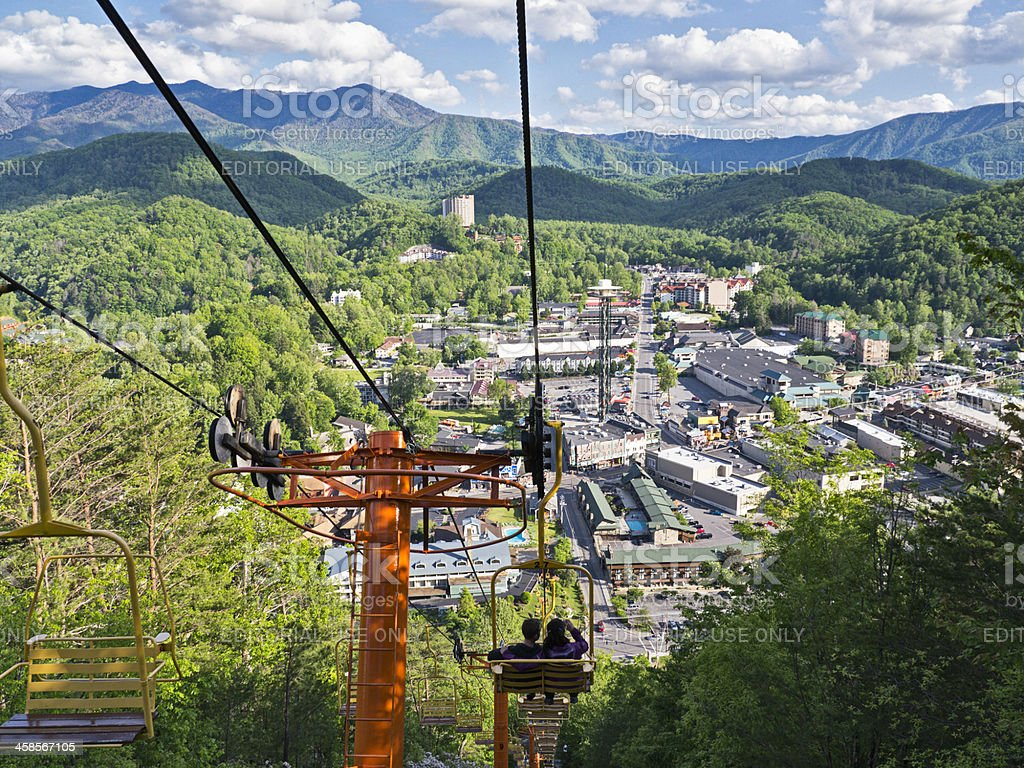 Ski lift overlooking the Smoky Mountains and Gatlinburg stock photo