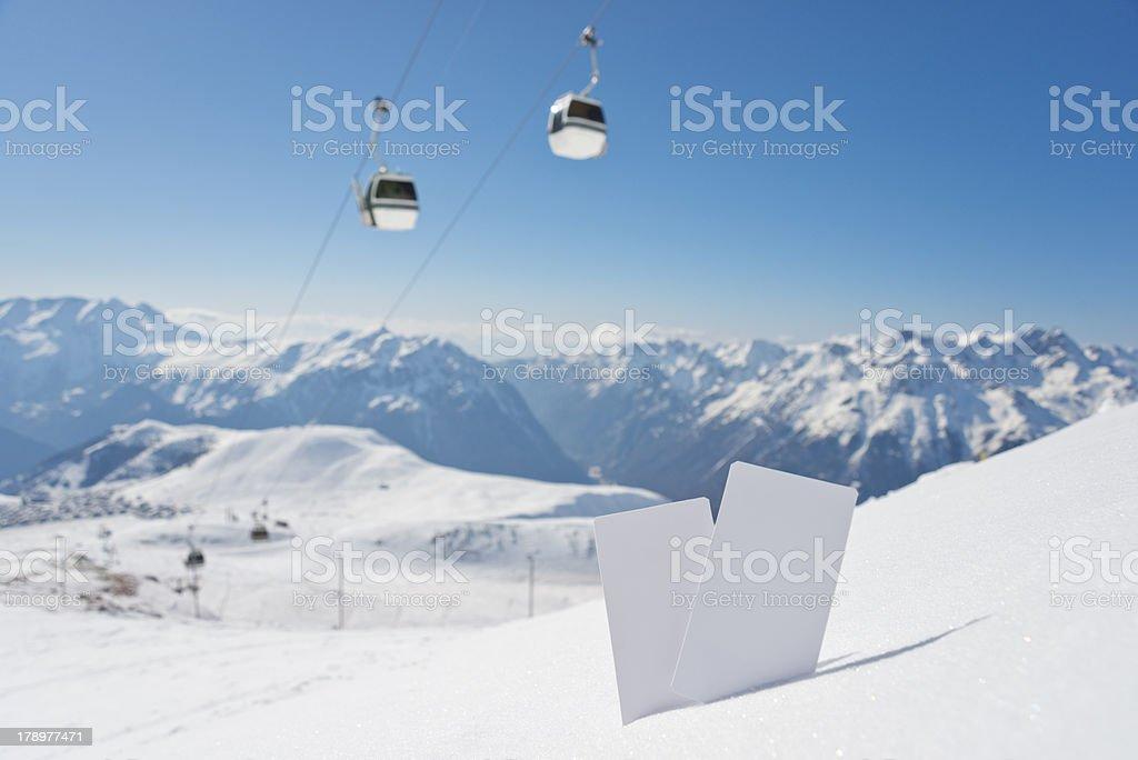 Ski lift pass and panorama royalty-free stock photo