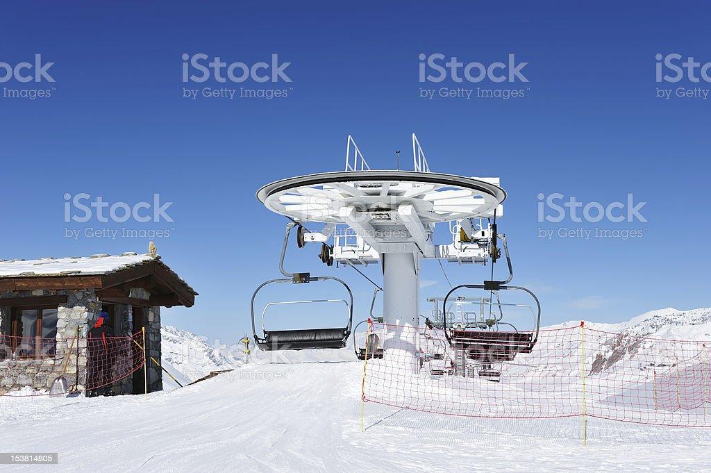 Ski lift station royalty-free stock photo
