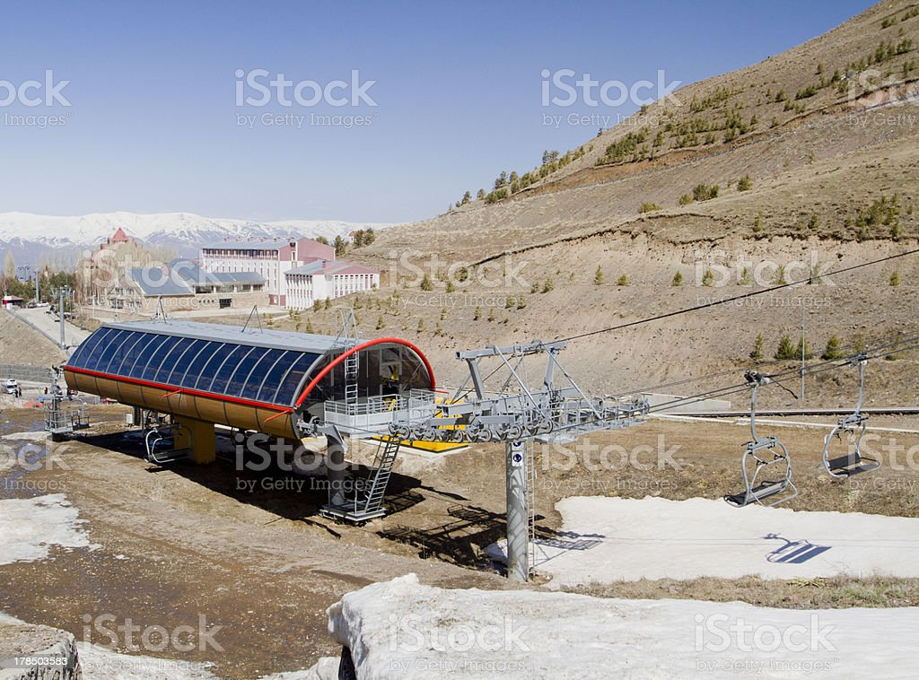 Ski lift station royalty-free stock photo