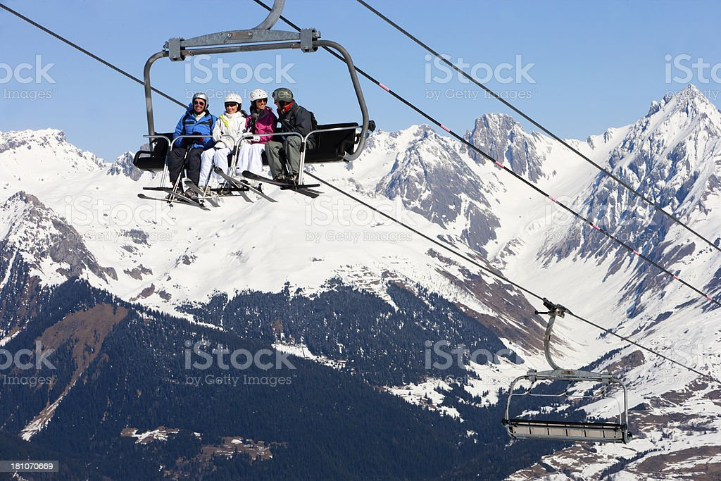 Ski Lift with Friends royalty-free stock photo