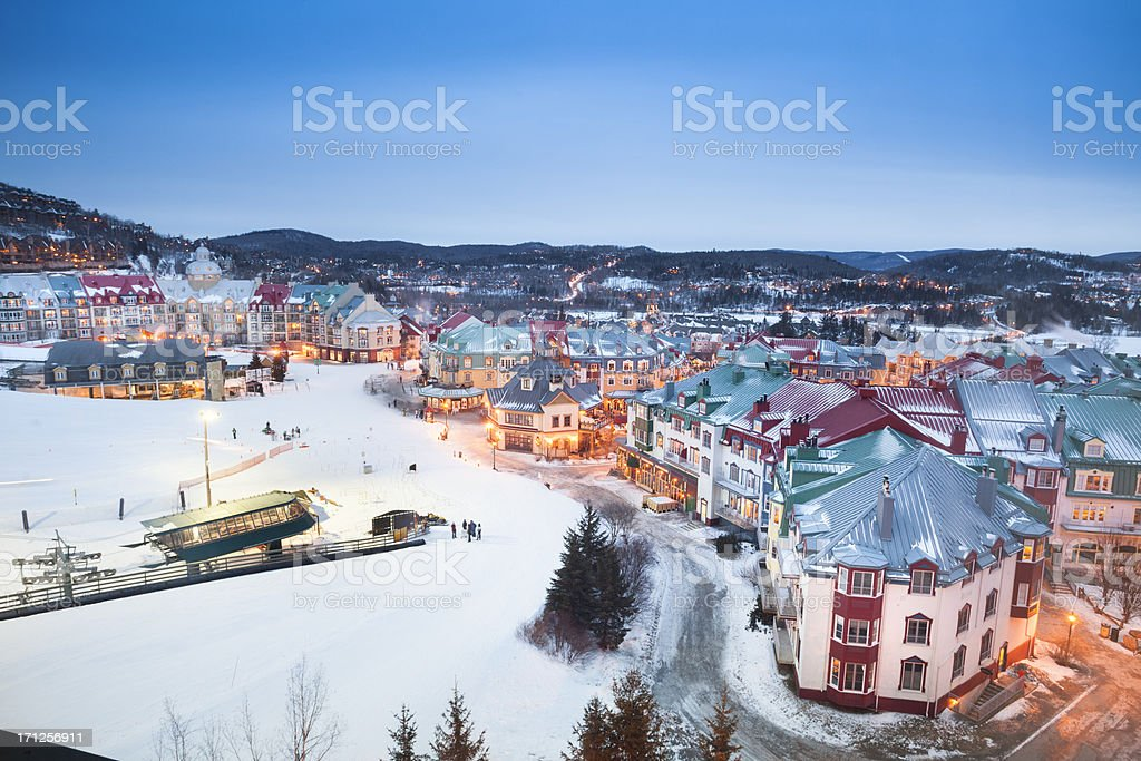 Ski lifts at Mont Tremblant village stock photo