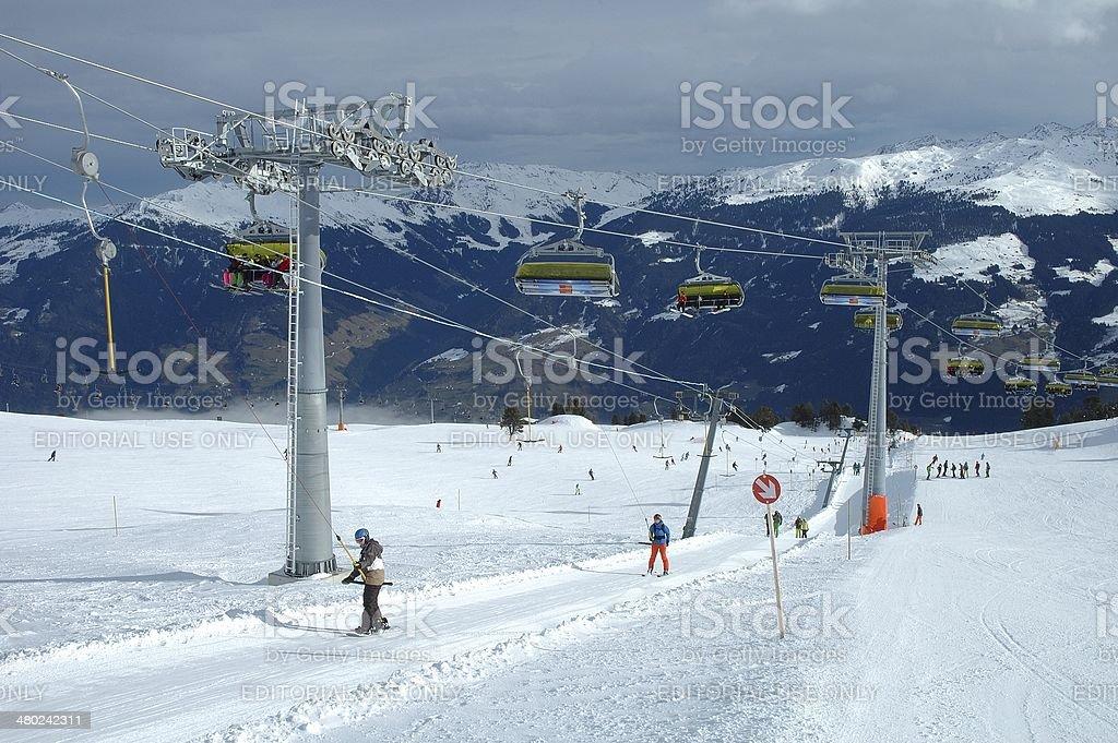 Ski lifts stock photo
