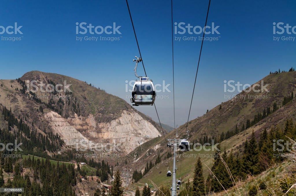 Ski lifts to Shymbulak ski resort stock photo