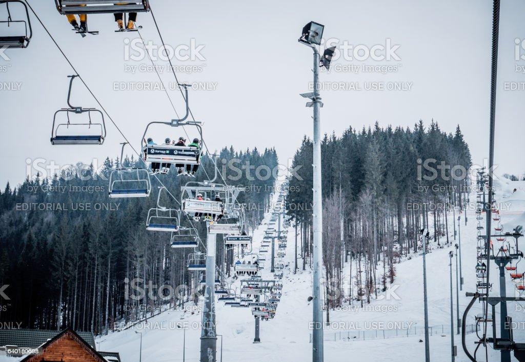 Ski lifts. Transport at the ski resort stock photo