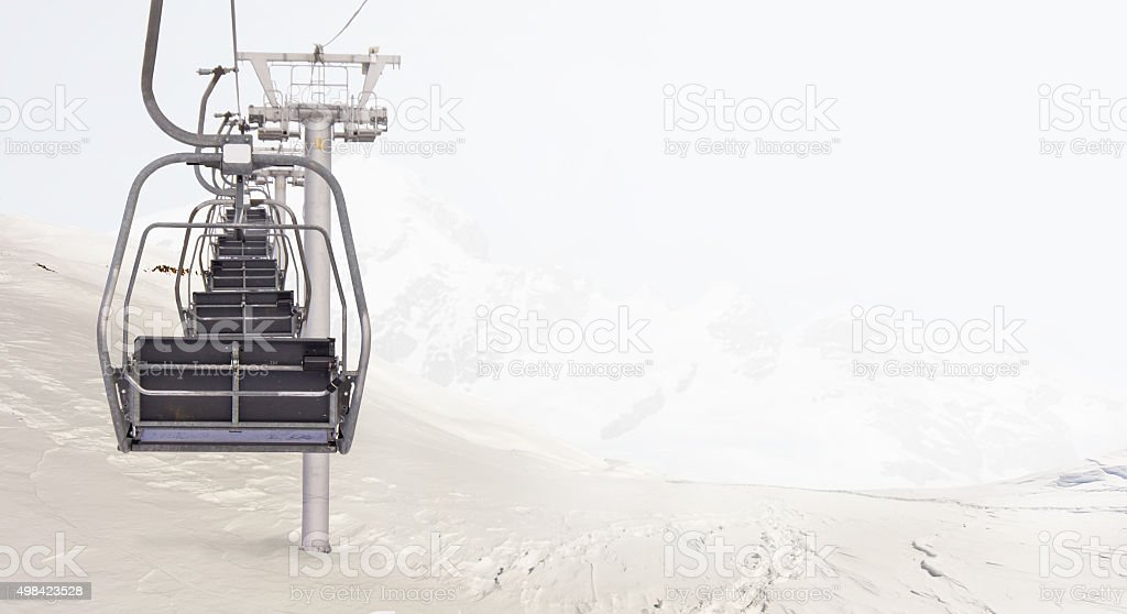 Ski lodge in the mountains. stock photo