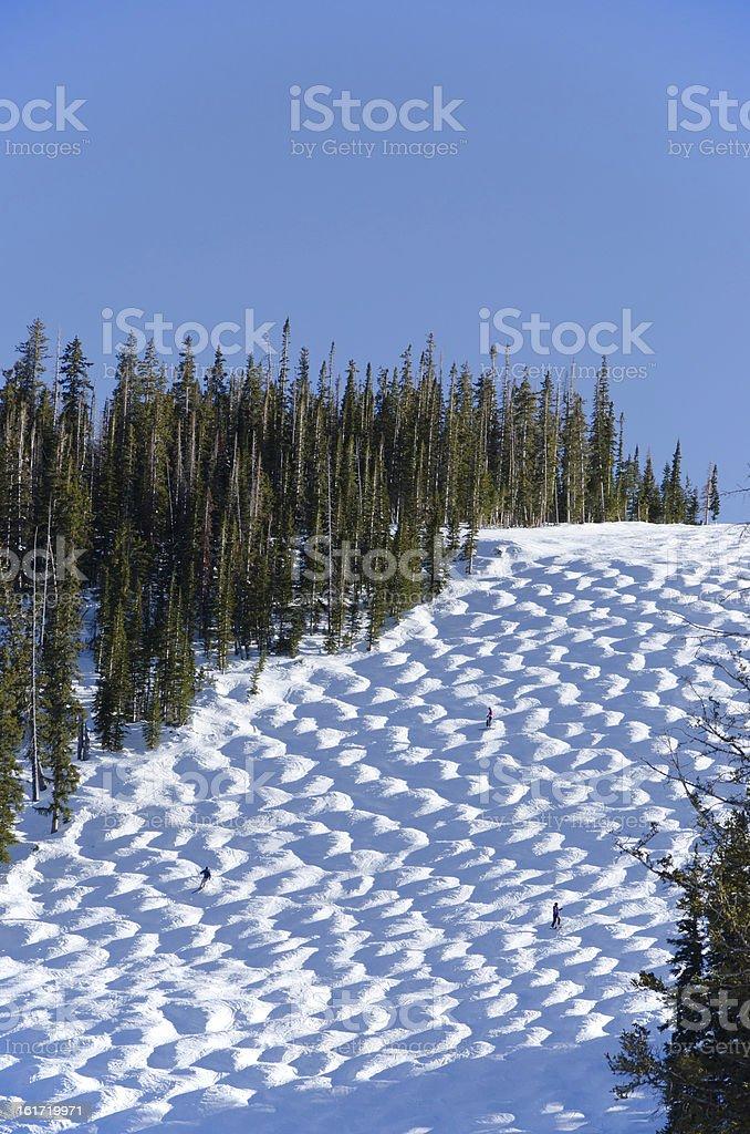 Ski Moguls on Slopes stock photo