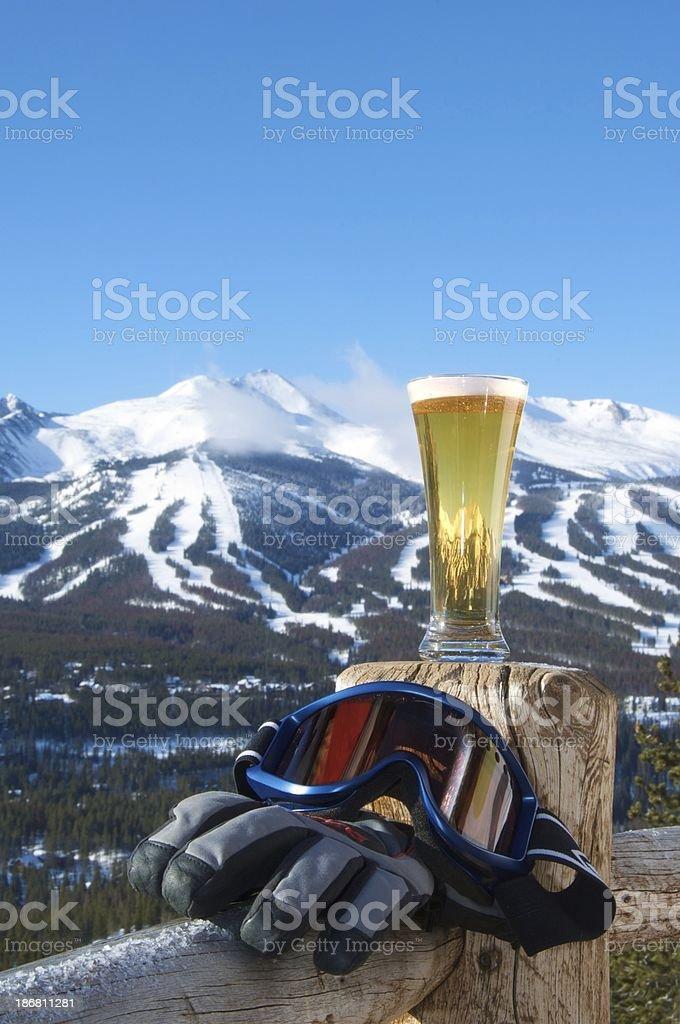 Ski Mountain, Refreshment, Goggles and Gloves- Skiing stock photo