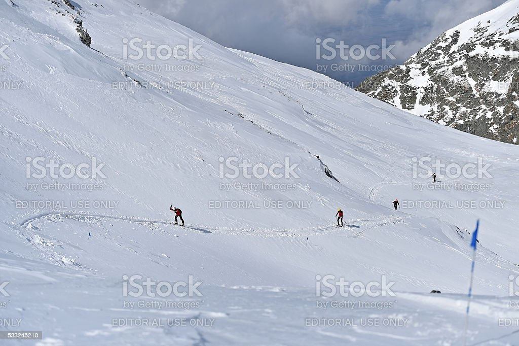 Ski mountaineer during competition in Carpathian Mountains stock photo
