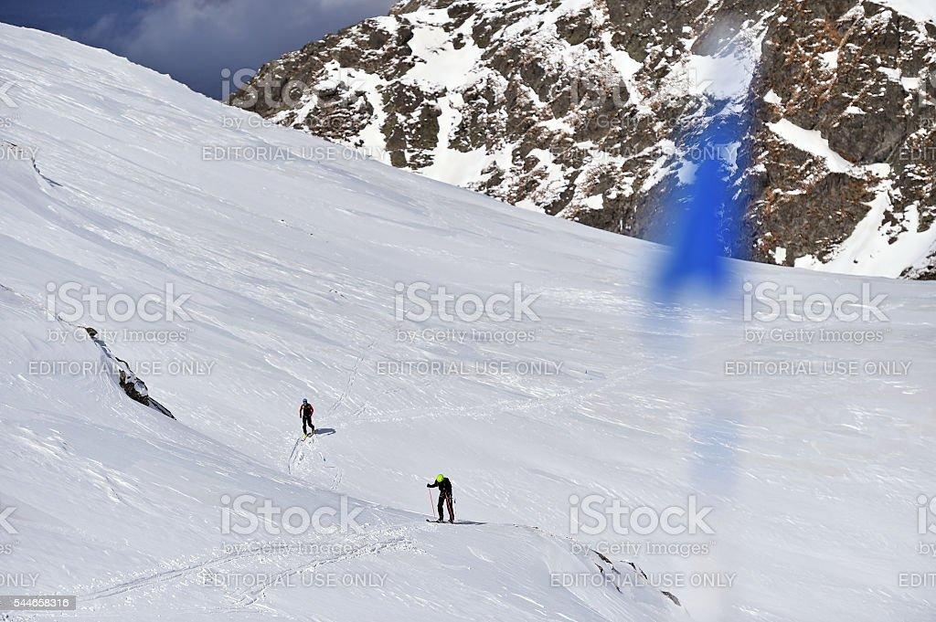 Ski mountaineer in Carpathian Mountains stock photo