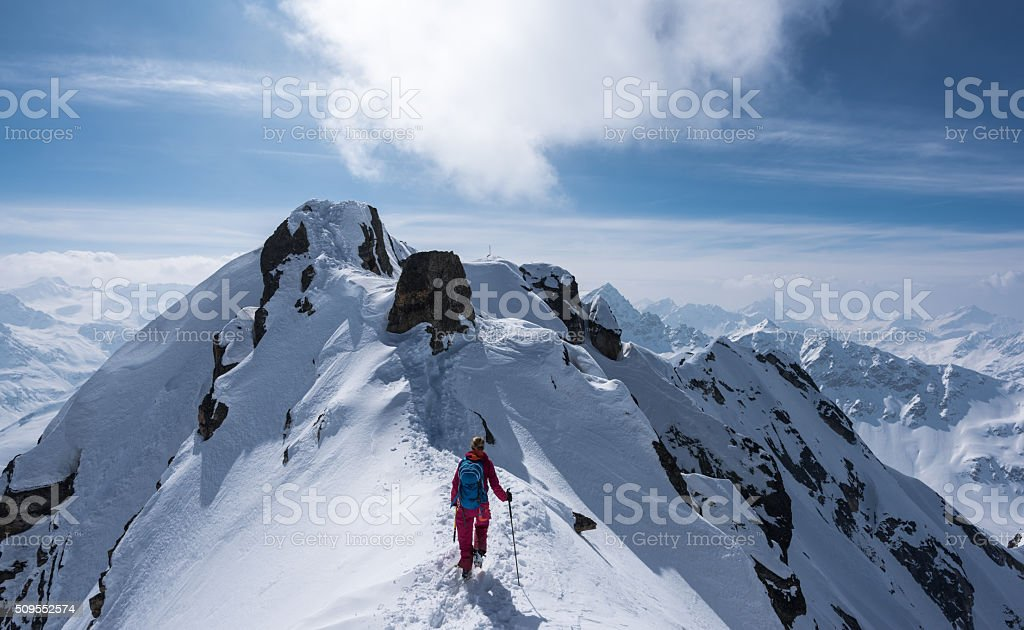 Ski mountaineering at the Flüela Schwarzhorn stock photo