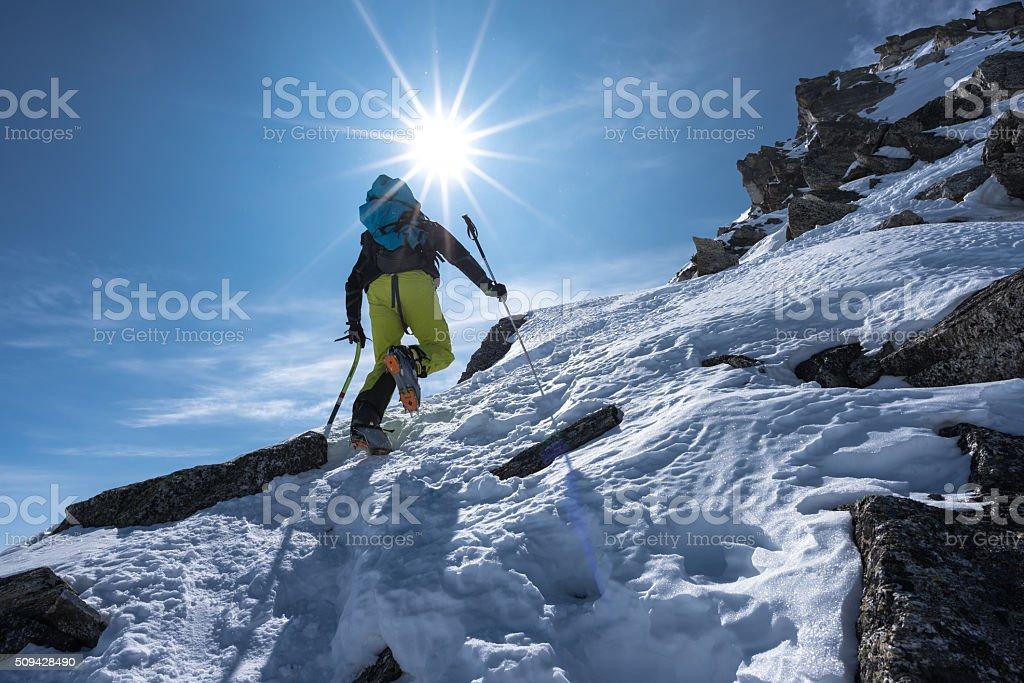 ski mountaineering at the Flüela Wisshorn, Switzerland stock photo