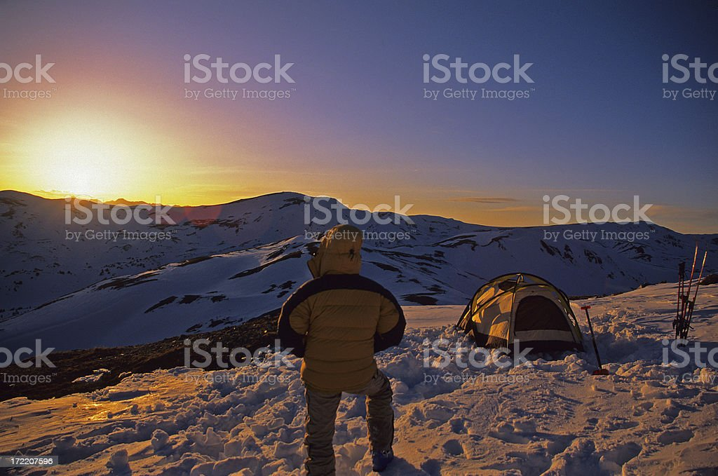 Ski Mountaineering Camp at Sunset royalty-free stock photo