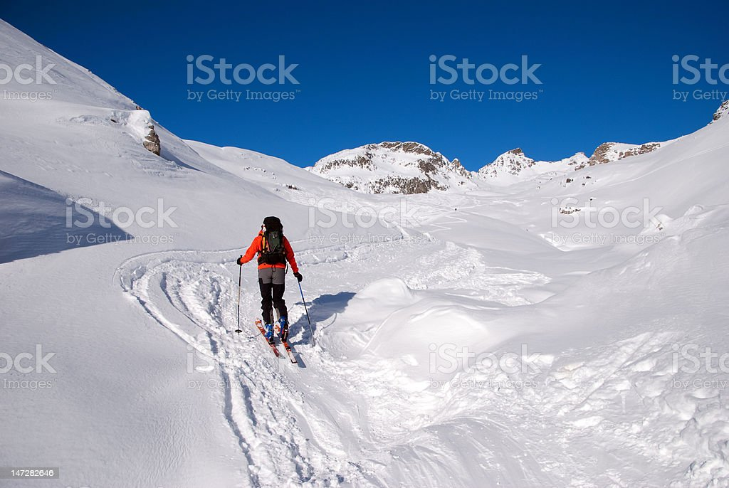 Skibergsteigen Graubünden stock photo