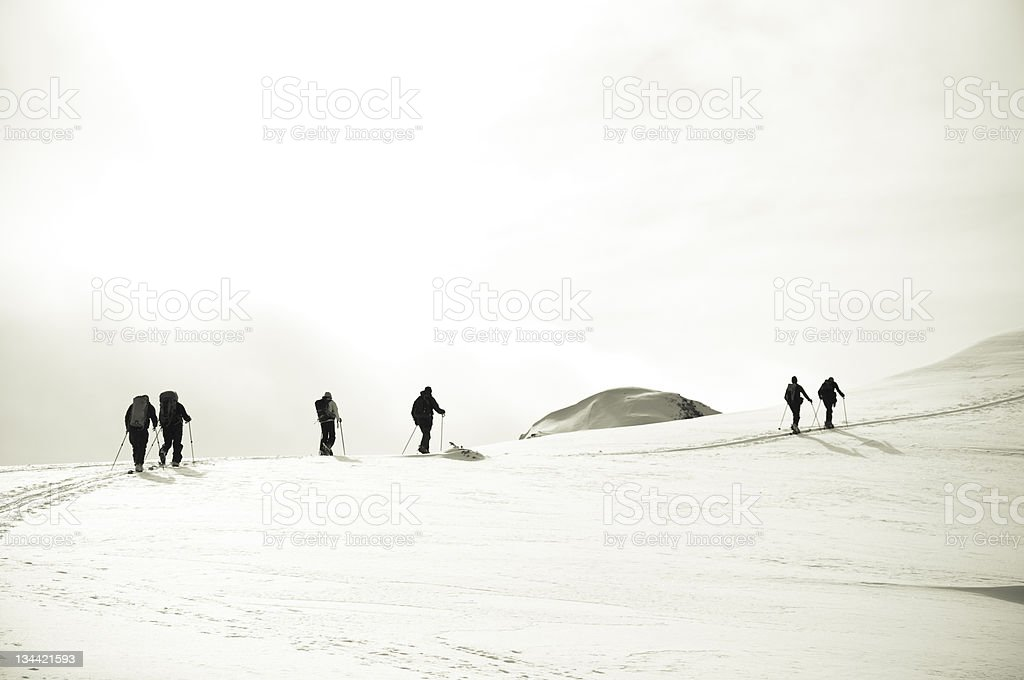 Ski Mountaineering High in the Canadian Selkirk Mountains stock photo