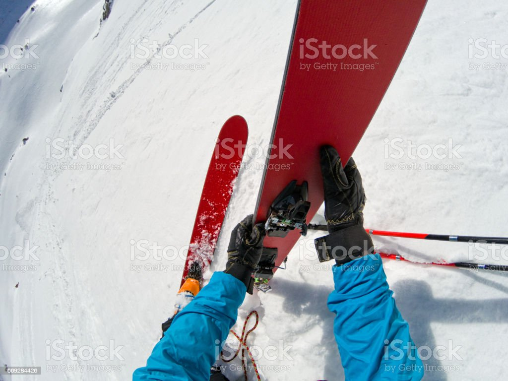 Ski Mountaineering Rappel stock photo