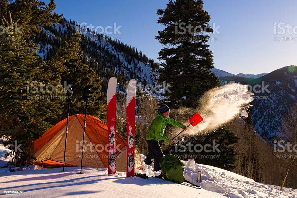 Ski Mountaineering Winter Camping stock photo