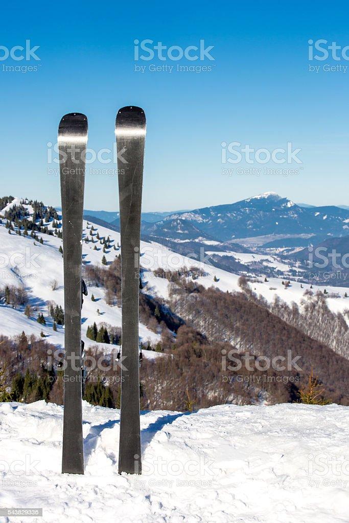 Ski on mountain top stock photo