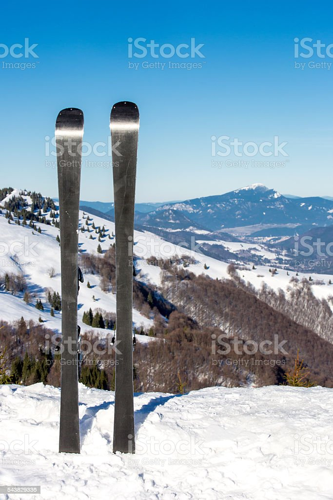 Ski on mountain top stock photo