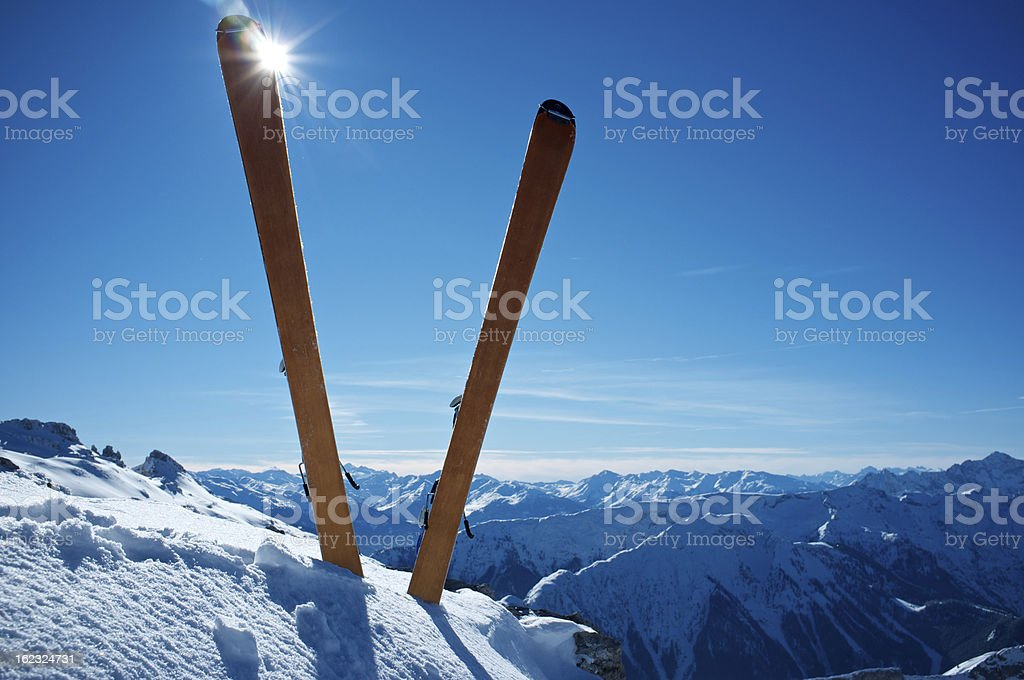 Ski on top of a mountain royalty-free stock photo