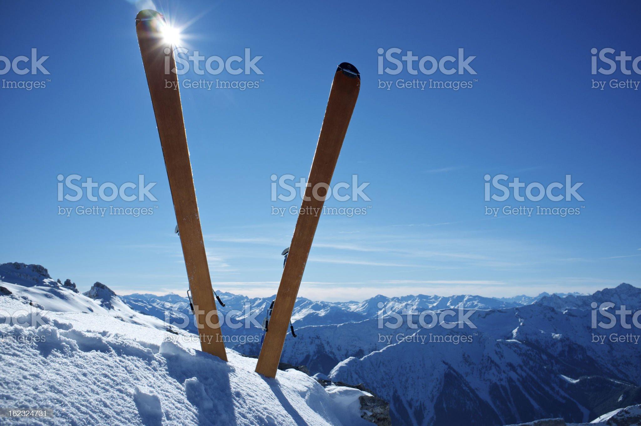 Ski on top of a mountain royalty-free stock photo