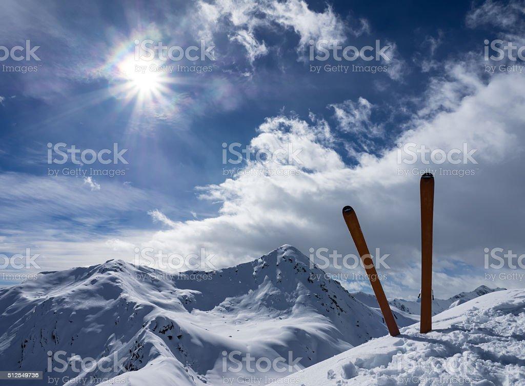 Ski on top of a mountain stock photo