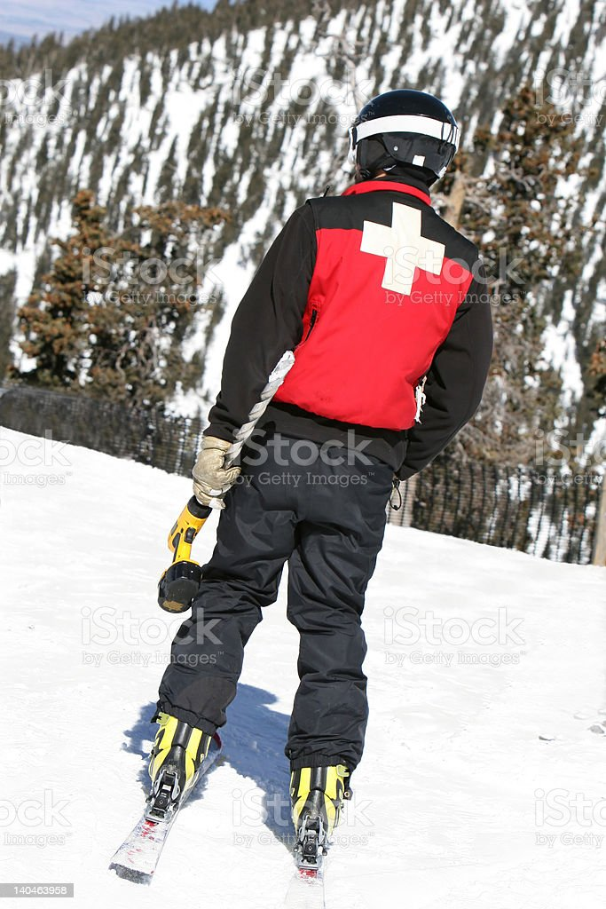 Ski Patrol with Drill stock photo