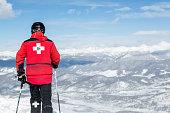 Ski Patroller at Breckenridge Ski Resort Landscape, Colorado